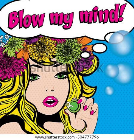 pop art woman with flower crown