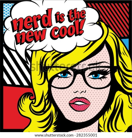 pop art woman with glasses