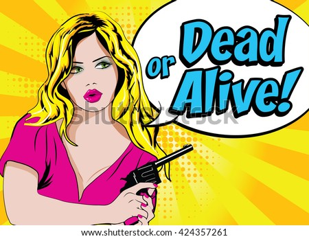 pop art woman with pistol  dead