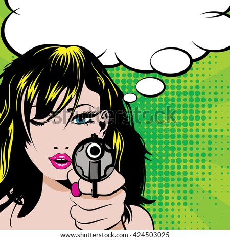 pop art woman with pistol