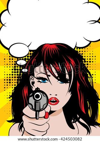 pop art woman with pistol