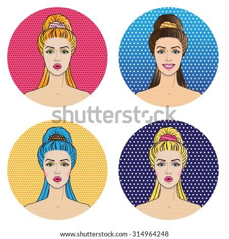 pop art women avatar icons in
