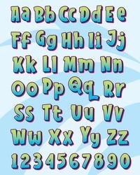 Pop colorful letter font typography set design