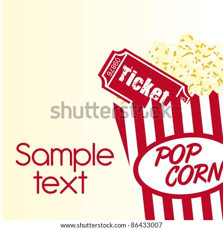 pop corn and ticket with sample text background. vector