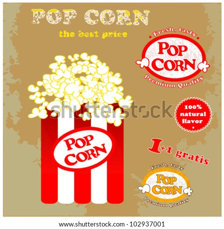 Pop Corn Symbol And Badges