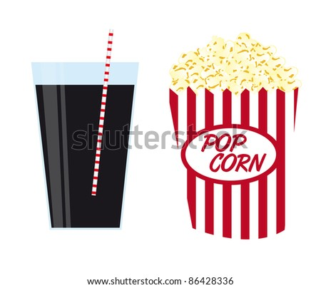 pop corn with black drink isolated over white background. vector