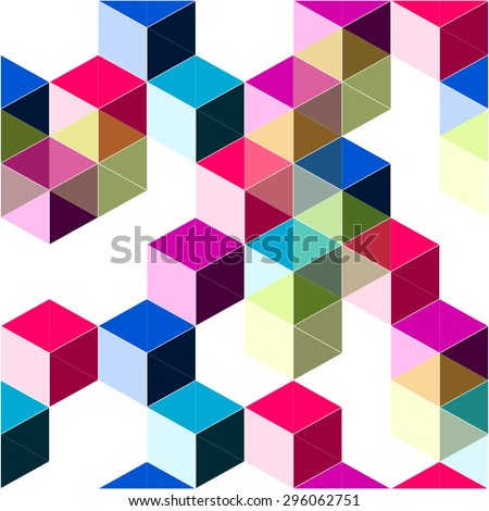 Pop dimensional trendy background with blocks and cubes structure