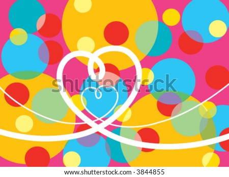 pop dots and loopy heart (vector) - illustrated background