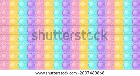 Pop it background a fashionable silicon toy for fidgets. Addictive anti-stress toy in pastel colors. Bubble sensory developing popit for kids fingers. Vector illustration in rectangle format suitable