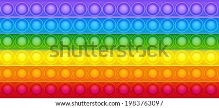 Pop it vector background texture. Bubble rainbow colorful toy.