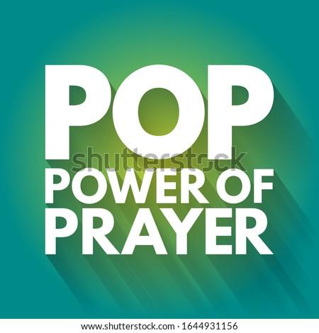POP - Power Of Prayer acronym, concept background Foto d'archivio ©