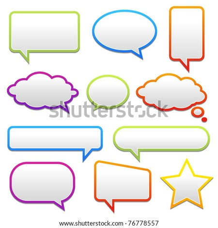 pop-up bubble with shadow on white background many styles in vector format.