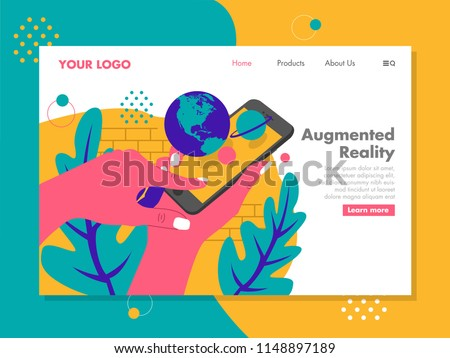 Stock Photo Pop up planet on augmented reality phone, vector illustration for landing page