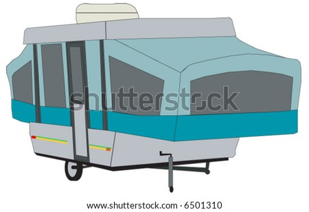 pop up tent style camping trailer - stock vector