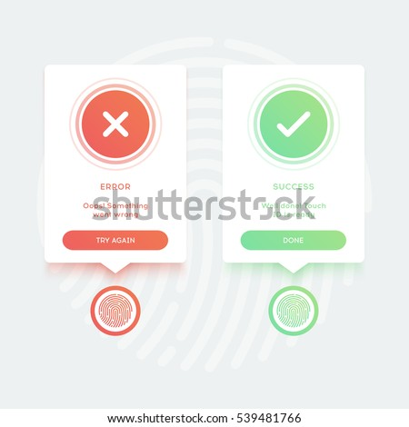 Pop-ups touch ID access for unlock application. Scanning fingerprint. Error and Success messages with buttons and text. Flat design elements for mobile applications. Vector illustration