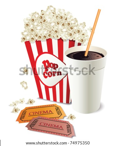 Popcorn and coke cup - stock vector