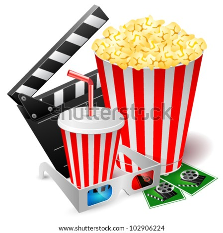 Popcorn and drink with 3d glasses and clapper. Vector illustration