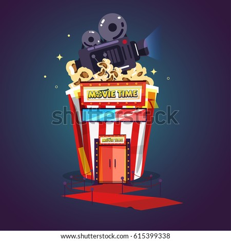Popcorn as theater. enjoy movie. showtime concept - vector illustration