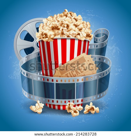 popcorn bowl  film strip and