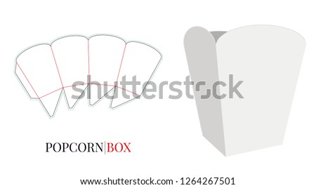 Popcorn Box Template. Vector with die cut / laser cut layers. Self Lock Packaging Design. White, clear, blank, isolated Popcorn Box mock up on white background, perspective view, 3D presentation