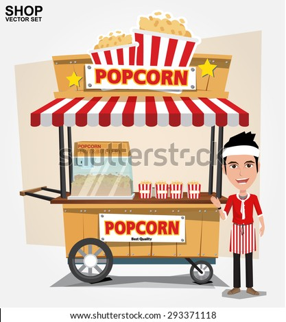 popcorn cart with seller