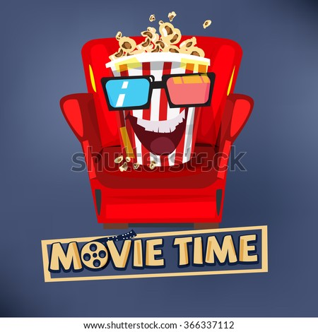 popcorn character design sitting on sofa and watching movie. movie time concept. typographic - vector illustration