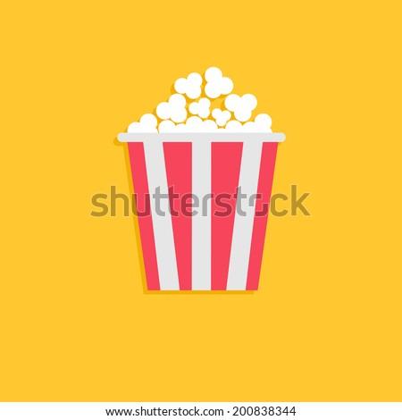 Popcorn. Cinema icon in flat design style. Vector illustration