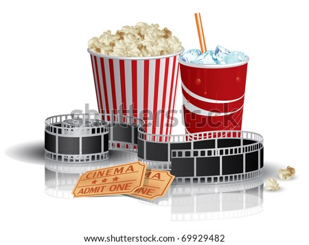 Popcorn, drink and filmstrip