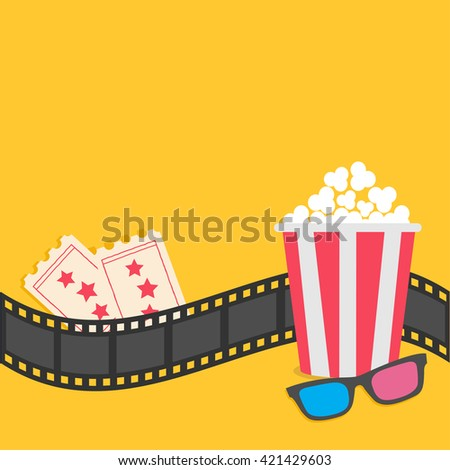 popcorn film strip border 3d