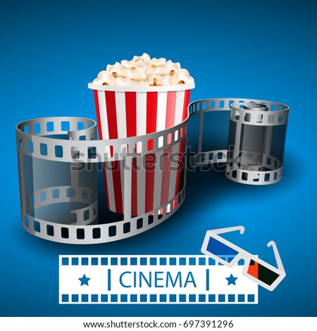 Popcorn for movie theater and online cinema reel on blue background. Paper package full of popcorn and film tape for cinematography. Vector illustration