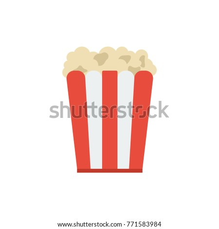 Popcorn icon flat symbol. Isolated vector illustration of cinema snack sign popcorn icon concept for your web site mobile app logo UI design.