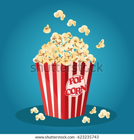 Popcorn in a red striped bucket box. Popcorn exploding. Vector stock.