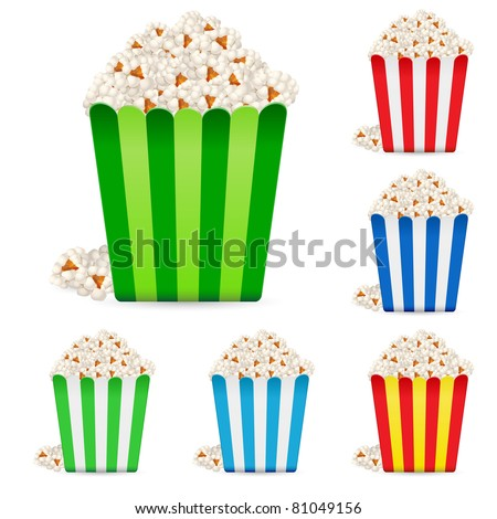 Popcorn in multi-colored striped packages. Illustration on white background - stock vector