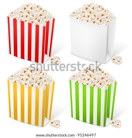 Popcorn in multi-colored striped packages. Illustration on white background for design