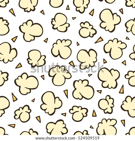 Popcorn in vintage style on a white background. Seamless hand drawn vector pattern in retro style.
