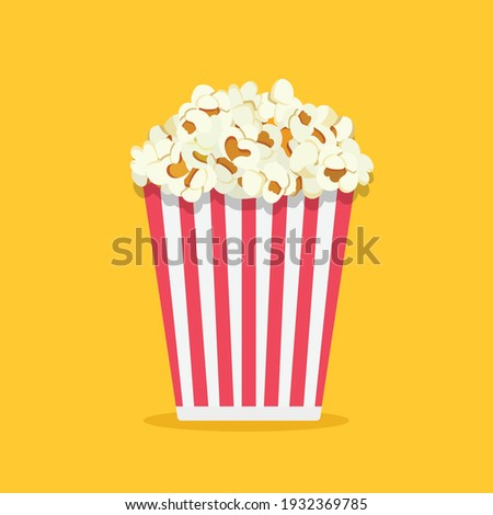 Popcorn isolated on yellowe background. Cinema icon in flat style. Snack food. Big red white strip box. Vector stock