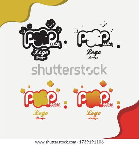 Popcorn logo, Popcorn, Black and white popcorn logo,  Vector logo,  Popcorn Vector