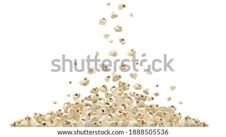 Popcorn making machine. Realistic vector popcorn falling down. A lot of popcorn. graphic illustration
