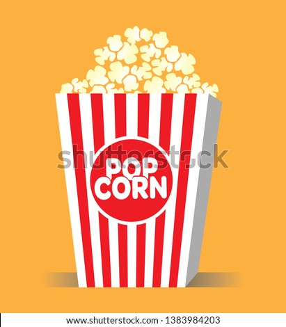 Popcorn pack design. Popcorn box isolated on white background. - Vector