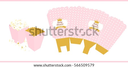 Popcorn box template download free vector art stock graphics popcorn paper box template for little princess pronofoot35fo Image collections