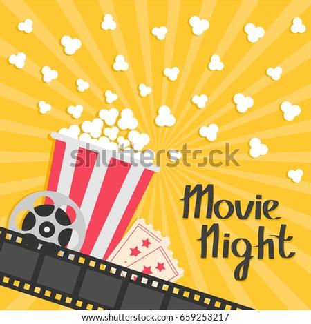 popcorn popping big movie reel