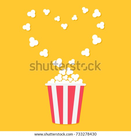 Popcorn popping. Heart shape frame. Red yellow strip box. Cinema movie night icon in flat design style. Yellow background. Isolated. Vector illustration
