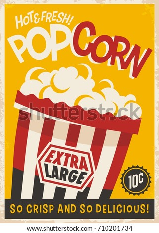 Popcorn retro poster design template. Food and snacks vintage print layout.