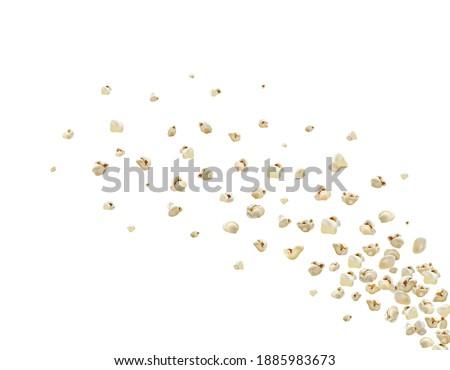 Popcorn splash. Realistic vector popcorn flying. A lot of popcorn Blow up flying pop corn. Oops. graphic illustration