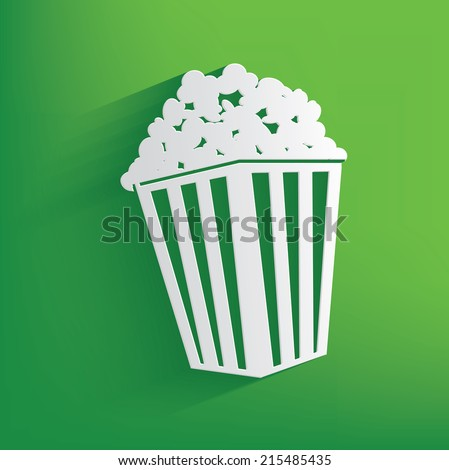 Popcorn symbol on green background,clean vector