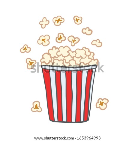 Popcorn. Vector color illustration in cartoon style. Drawing popcorn.