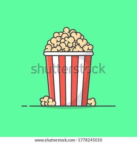 Popcorn Vector Icon Illustration. Popcorn Bucket Boxes. Popcorn in a striped tub