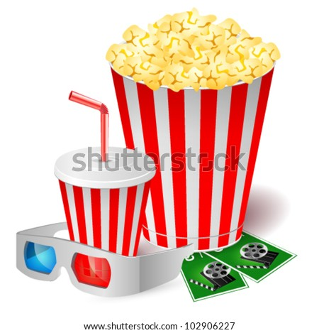 Popcorn with 3d glasses. Vector illustration