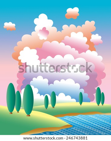 Poplar tree. Landscape with big colorful clouds. Lake beach. Summer weather background.