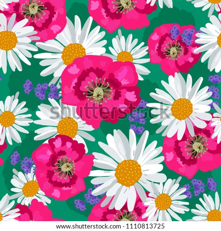 poppies and daisies on a green